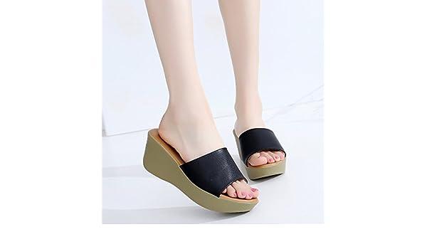 SCLOTHS Été Tongs Femme Chaussures Pente en Simili Cuir épais Bas avec épais antidérapant Imperméable Fond Mou Black 6 US/36 EU/3.5 UK
