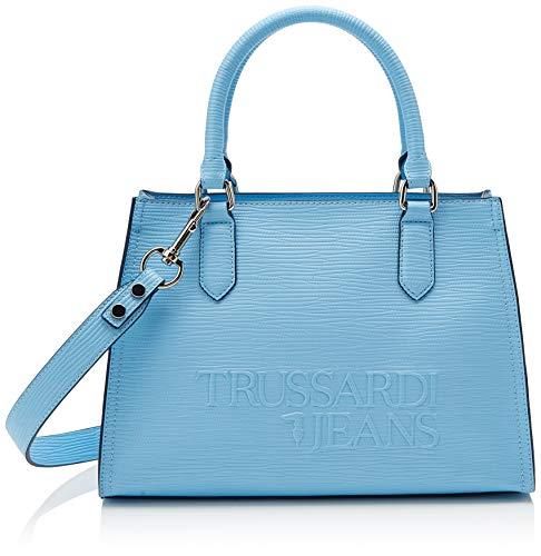 Trussardi Jeans Damen T-tote High Frequency Bag, Blau (Light Blue), 30x31x12 centimeters - Denim Tote Bag Handtasche