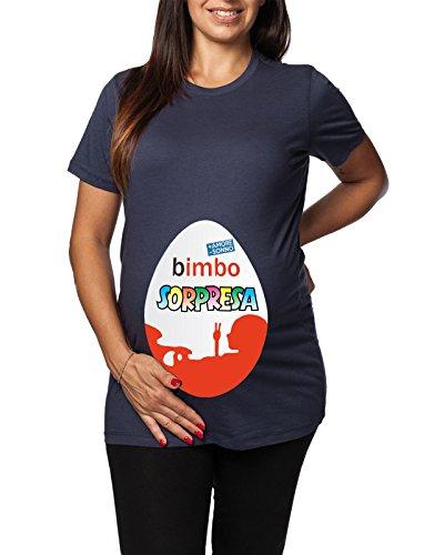 Tshirt lunga da donna ideale per il premaman Bimbo Sorpresa - + amore - sonno - tshirt simpatiche e divertenti - humor Blu
