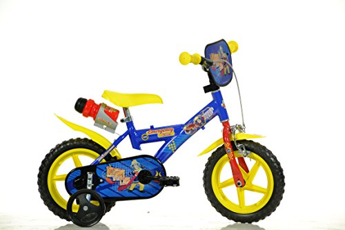 Feuerwehrmann Sam Kinderfahrrad Fireman Sam Jungenfahrrad - 12 Zoll | TÜV geprüft | Original Lizenz | Kinderrad mit Stützrädern - Das Fahrrad aus Fireman Sam als Geschenk für Jungen -