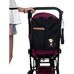 ZEEUPAI - Bolsa bandolera para paderes Organizador multifuncional para cochecito carro de bebé (Negro - Mono )