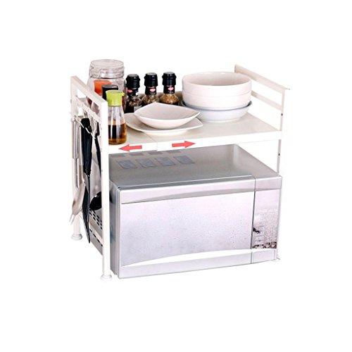 JJJJD Weiß Multifunktions-Edelstahl-Küche-Mikrowellen-Racks Lagerregal 2-stufiges justierbares mit Haken-Flaschen-Halter-Würze-Gestell-Ofen-Regale Boden-angebrachtes Regal (Größe: 40-65cm)