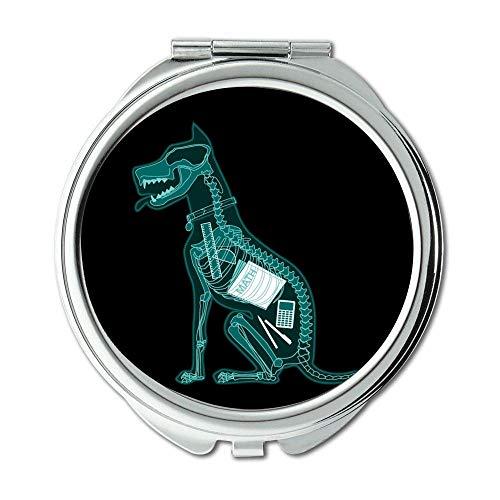 Yanteng Spiegel, Schminkspiegel, Englische Bulldogge, Taschenspiegel, 1 X 2X Vergrößerung