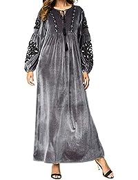 8af5c4207c34 Qianliniuinc Inverno Ricamo Lunga Maxi Dress-Islamico Musulmano Donne  Casuale Abiti Vestito Lungo Ramadan Preghiera