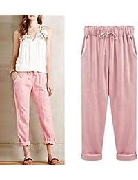 Fathoit Pantalon Lin Femme Grande Taille Occasionnels Pantalons en Lin De  Coton Femmes Taille éLastique Pantalon 552a09f5078
