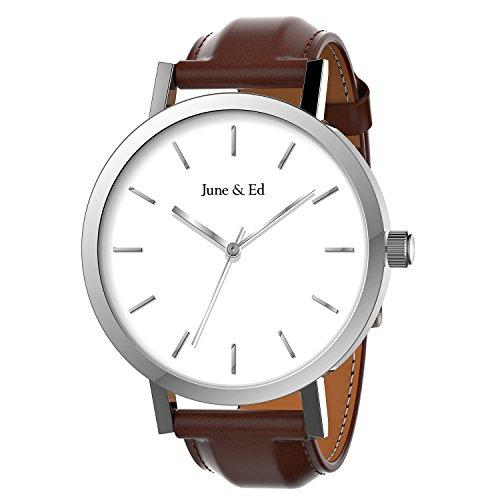 June & Ed Quarz Armbanduhr Herren Uhr Classic Edelstahl Leder-braun mit Saphir Kristall wählen Fenster -Silber W-0011