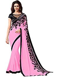 Tryme Fashion Women's Georgette Saree With Blouse Piece (.Minto_Pink_Sadi, Pink, Free Size)