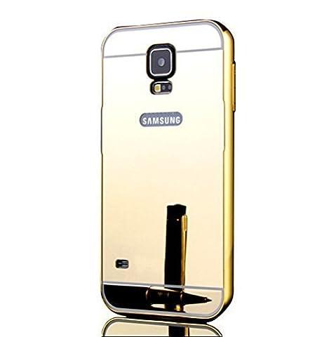 Sunroyal® Samsung Galaxy S5 S V I9600 / S5 Neo Miroir Retour Case Ultra mince Coque Etui Housse Aluminium Métal Rim Thin Effet Mirror Réflexion Métallique Hard Cover PC Skin de Protection Bumper -