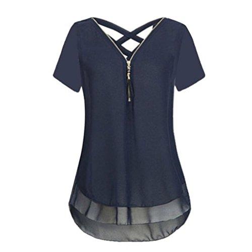 LSAltd Frauen Sommer Tops Damen Vintage Chiffon Bluse V-Ausschnitt Reißverschluss T-Shirt Kurzarm Tank Top lose Hem Chic Weste Tee (M, Marine) (Arm Rechten Stück 3)