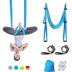 Sotech Hamac de Yoga Aérien Kits, Balançoire de Yoga en pour Le Yoga Anti-gravité, Exercices d'inversion, avec Sac de Transport et 2 Sangles d'extension, Capacité 300 kg (Turquoise)