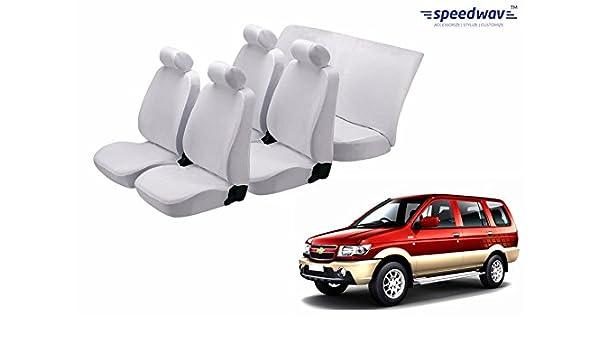 Speedwav Car White Denim Seat Cover Chevrolet Tavera Neo 7s Captain