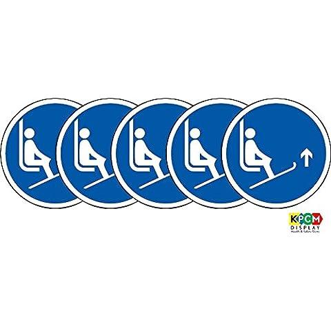 Iso etichetta–Cartello di sicurezza internazionali Lift Ski Tips fino simbolo–Adesivo Adesivo 100mm di diametro (Confezione da 5)