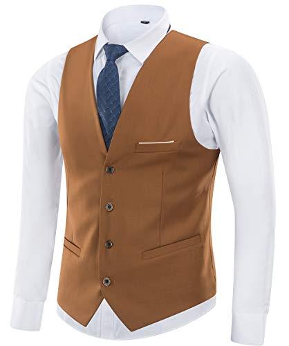 Yingqible Herren Anzugweste Weste V-Ausschnitt Ärmellose Westen Slim Fit Anzug Business Hochzeit Smoking Sakko Weste Elegant (Large, Braun)