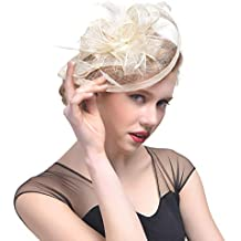 JAGENIE Halloween accessori donna matrimonio cappello fascinator piuma mesh  party cocktail copricapo per capelli New Reference 8301199ca8ed