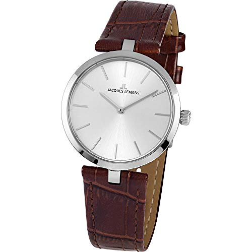 Jacques Lemans Women's Milano 34mm Brown Leather Band Quartz Watch 1-2024B