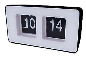Flip Clock Klappzahlenuhr Retro Nostalgie Design Uhr XXL Anzeige Farbwahl (Schwarz)