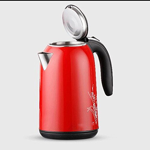BCQ Electric Kettle Stainless Steel Purple Red Double Anti-Hot 1830W 1.7L Automatic Power off Insulation Home Travel Electric Kettles,Red