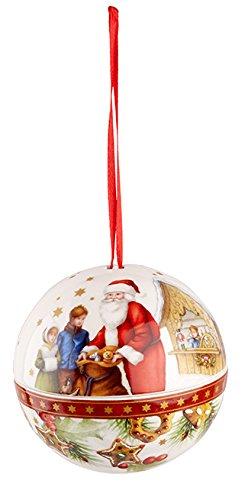 Villeroy & Boch Christmas Balls Kugel Weihnachtsmann, Porzellan, Rot, 9.6x 9.2x 9.7cm -