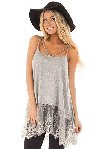 Cnfio Women Summer Spaghetti Straps Tank Tops Casual Backless Camisole Long Vest Shirts Blouse Criss Cross T-Shirt Tee Tunic Sexy Lace Sleeveless Bandage Sling Mini Dresses