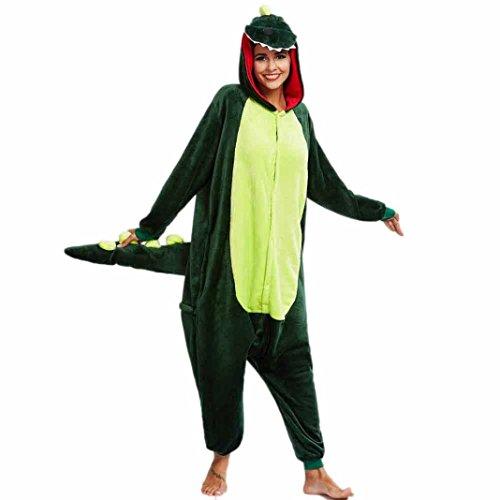 Frauen Tier Overall, Huihong Winter warme Nachtwäsche Cartoon Neuheit Pyjama Cosplay (XL, Dinosaurier) (Cute Freund Freundin Halloween Kostüme)