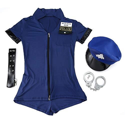 Vestito di donne sexy gioco di polizia uniforme, vestito sexy della polizia delle donne gioco uniforme per costume di carnevale di halloween costume cosplay blu cerniera poliziotta vestito tentazione