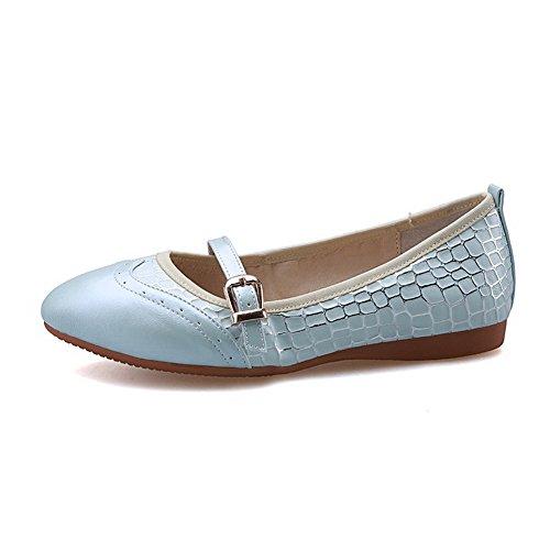 AgooLar Damen Spitz Zehe Niedriger Absatz Gemischte Farbe Ziehen Auf Pumps Schuhe Blau