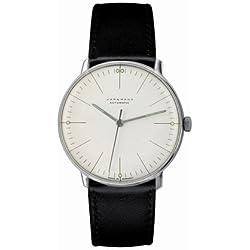 Armbanduhr Max Bill, Automatik, gold,|mit Strichblatt weiß, Armband braun, [A]