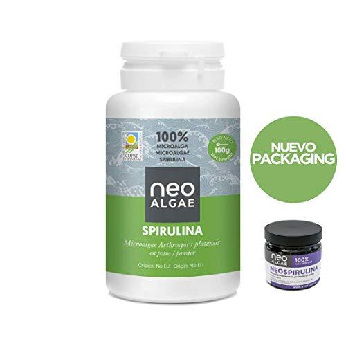 Bio Spirulina Pulver 100 Gramm | Geeignet für Veganer | Ursprung der Mikroalgen Spanien | Halal-Zertifizierung | 100% natürlich, ohne Zusätze | Neospirulin -