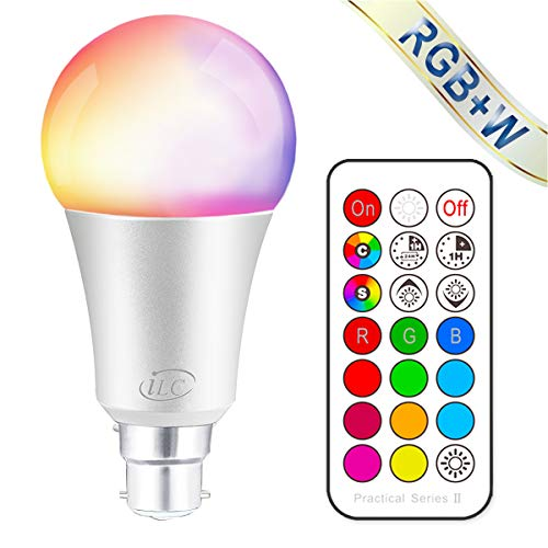 0d25fa4d21c iLC Colour Changing Light Bulb Dimmable 10W B22 Bayonet RGBW LED Light  Bulbs - 12 Color