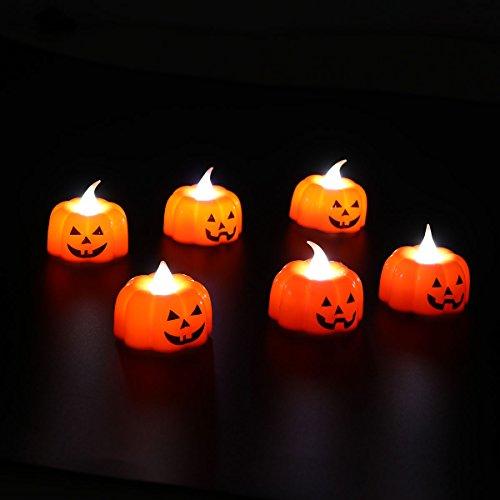 BESTOYARD Halloween Kürbis Lichter, 3D Kürbis String Licht Indoor LED Jack-O-Laterne Halloween Lichter Flammenlose Kerze Batteriebetriebene elektronische Kerzen 6pcs