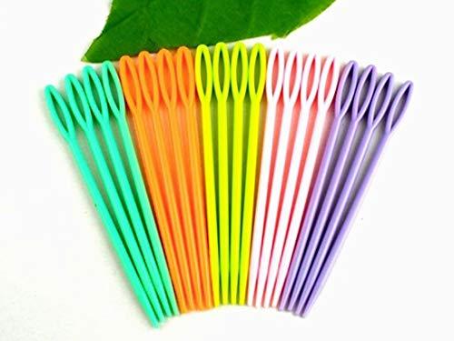Ouken Pack de 40 Agujas de 7cm de plástico para niños Coser, Binca y Tapiz