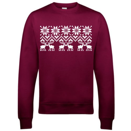 Christmas Pattern Jumper (Xl, Burgundy)