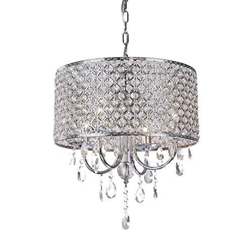 YOZOOE LED-Kristallglaslampen arbeiten geführte Kristallleuchter for Restaurant-Korridor-Hochleistungsdeckenbeleuchtung E14-4 Lichter um (Farbe : Chrome-AC 220V-Kaltes Weiß) -