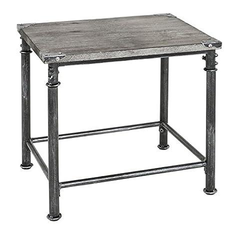 Robust Vintage Side Table - Stylish Lime Grey Finish - Solid Wood Shelf - 4 Legged Tubular Base Of