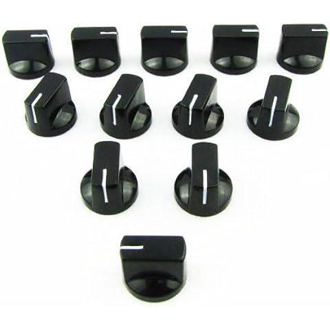 IKN® Plano cabeza Audio las perillas plásticas para los amplificadores de válvula guitarra bajo pedales Amp, negro, paquete de 24