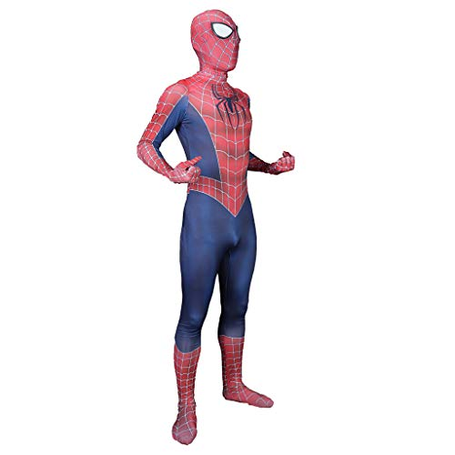 NDHSH Erwachsene Klassische Spiderman Elastizität Jumpsuit Outfit Festival Party Cosplay Kind Kostüm Kostüm,Red-Child(130-140)