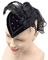 FASCINATOR COCKTAIL HAT WITH BLACK FEATHERS & LACE 1940'S STYLE TEARDROP BURLESQUE