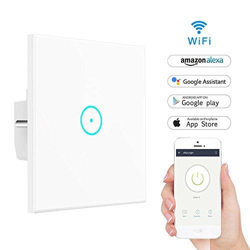 Wifi Smart Lichtschalter,LYASI gehärtetes Glas Touch-Screen WLAN Lichtschalter,Arbeit mit Alexa und Google Home,drahtlose Fernbedienung,Timing-Funktion,Überlastschutz,keine Nabe erforderlich(1 Weg)