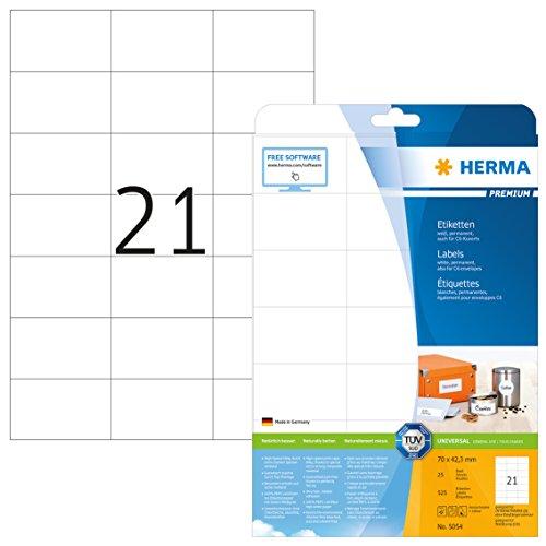Herma 5054 Universal Etiketten (70 x 42,3 mm) weiß, 525 Aufkleber, 25 Blatt DIN A4 Premium Papier matt, bedruckbar, selbstklebend