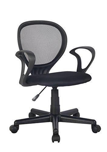 SixBros. Bürostuhl,Schreibtischstuhl, Drehstuhl für\'s Büro oder Kinderzimmer, stufenlos höhenverstellbar, Schreibtischstuhl für Kinder aus Stoff, schwarz, H-2408F/2058