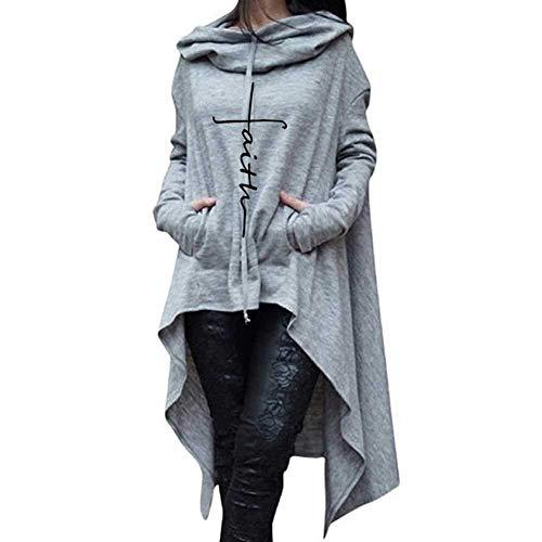 Damen Pullover Damen Rollkragenpullover Bestickte Lange Kapuzenpullover Outwear Coat Kleidung Asymmetrisch Herbst Winter Warm Sweatshirt Unifarben Casual Mantel (Color : Grau, Size : 4XL) (4xl Umstandsmode)
