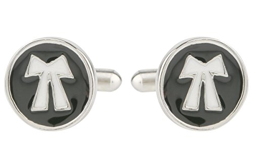 TRIPIN GOLDEN AND BLACK LAWYER SYMBOL CUFFLINK SET FOR MEN IN A GIFT BOX