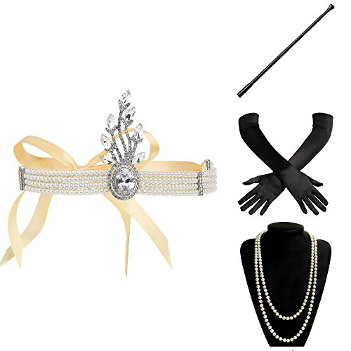 er Set Damen Verkleidung Party Gatsby Kostüm Accessoires Set Inklusive Stirnband Halskette Handschuhe Zigarettenhalter (Set-15) (Gatsby Themed Kleid)