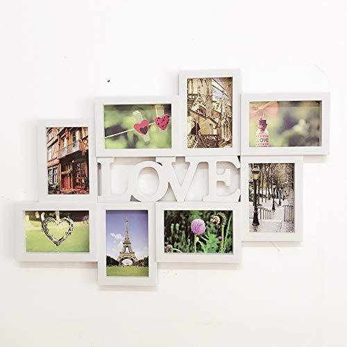 Mehrere Bilderrahmen Collage, Familie Collage Bilderrahmen für Wand 8 Loch 6 Zoll verbunden Brief einfachen Bilderrahmen 64 * 44 cm,Love6inch,64 * 44