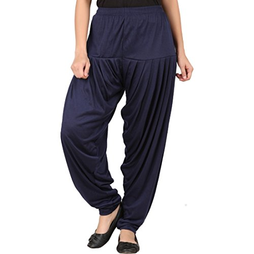 Super Stretch Viscose Spandex Patiala (Navy, XL (Waist - 34; Length - 39))