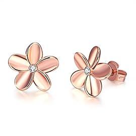LUKENI Fashion Sterling Silver Platinum Plated Crystal Flowers Ear Stud Earrings(Rose gold flowers)