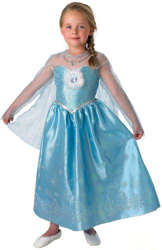 KULTFAKTOR GmbH Disneys Frozen Die Eiskönigin ELSA Deluxe Kinder Kostüm Lizenzware 122/128 (7-8 - Disney Elsa Deluxe Kostüm