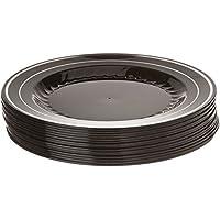 Elegante platos de plástico duro pesado para servir platos – negro con diseño de plata – 25 cm – desechables/reutilizables – Pack de 12