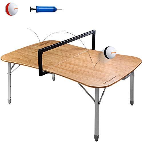 KingCamp Paeyball Mehrzweck Ballspiel-Tisch Campingtisch Klappbar Bambustischplatte Aluminiumrahmen Höhenverstellbar