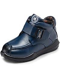 Botas de Cuero para niños Botines de Moda Planos cálidos de Cuero Suave con Zapatos de Felpa cálidos